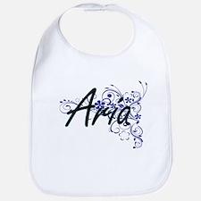 Aria Artistic Name Design with Flowers Bib