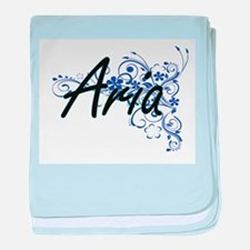 Aria Artistic Name Design with Flower baby blanket