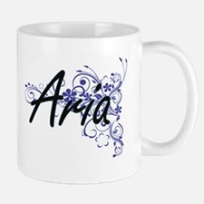 Aria Artistic Name Design with Flowers Mugs