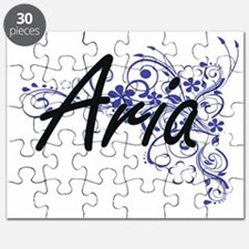 Aria Artistic Name Design with Flowers Puzzle