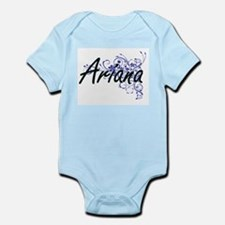 Ariana Artistic Name Design with Flowers Body Suit