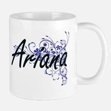 Ariana Artistic Name Design with Flowers Mugs