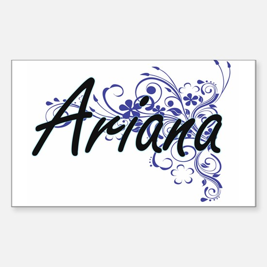 Ariana Artistic Name Design with Flowers Decal