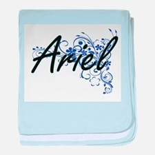 Ariel Artistic Name Design with Flowe baby blanket