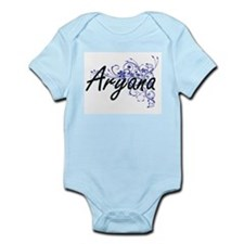 Aryana Artistic Name Design with Flowers Body Suit