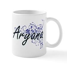 Aryana Artistic Name Design with Flowers Mugs