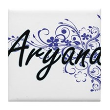 Aryana Artistic Name Design with Flow Tile Coaster