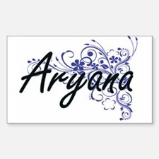 Aryana Artistic Name Design with Flowers Decal