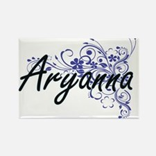 Aryanna Artistic Name Design with Flowers Magnets
