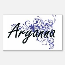 Aryanna Artistic Name Design with Flowers Decal