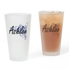 Ashlee Artistic Name Design with Fl Drinking Glass