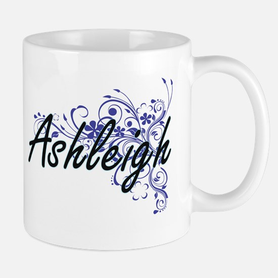 Ashleigh Artistic Name Design with Flowers Mugs