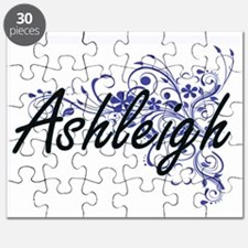 Ashleigh Artistic Name Design with Flowers Puzzle