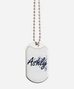 Ashly Artistic Name Design with Flowers Dog Tags