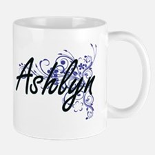 Ashlyn Artistic Name Design with Flowers Mugs