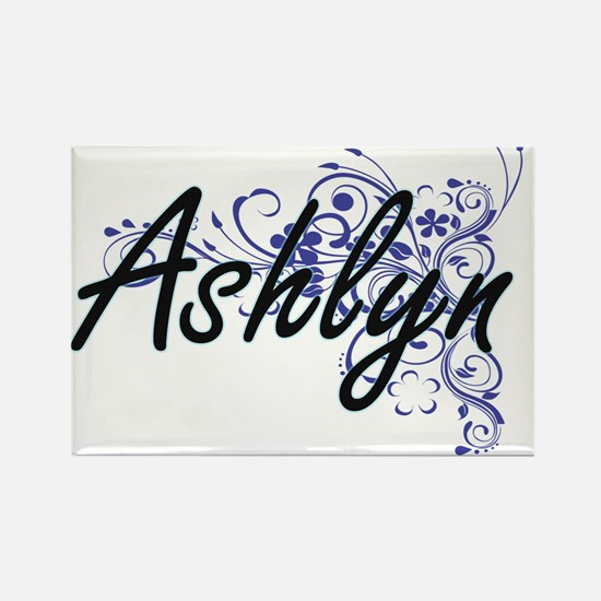 Ashlyn Artistic Name Design with Flowers Magnets