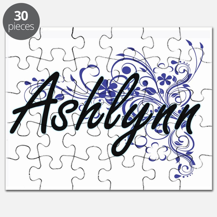Ashlynn Artistic Name Design with Flowers Puzzle