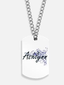 Ashlynn Artistic Name Design with Flowers Dog Tags