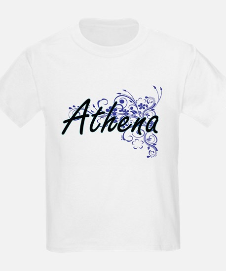 Athena Artistic Name Design with Flowers T-Shirt