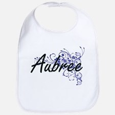 Aubree Artistic Name Design with Flowers Bib