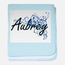 Aubrey Artistic Name Design with Flow baby blanket