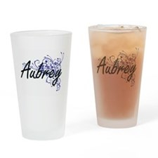 Aubrey Artistic Name Design with Fl Drinking Glass