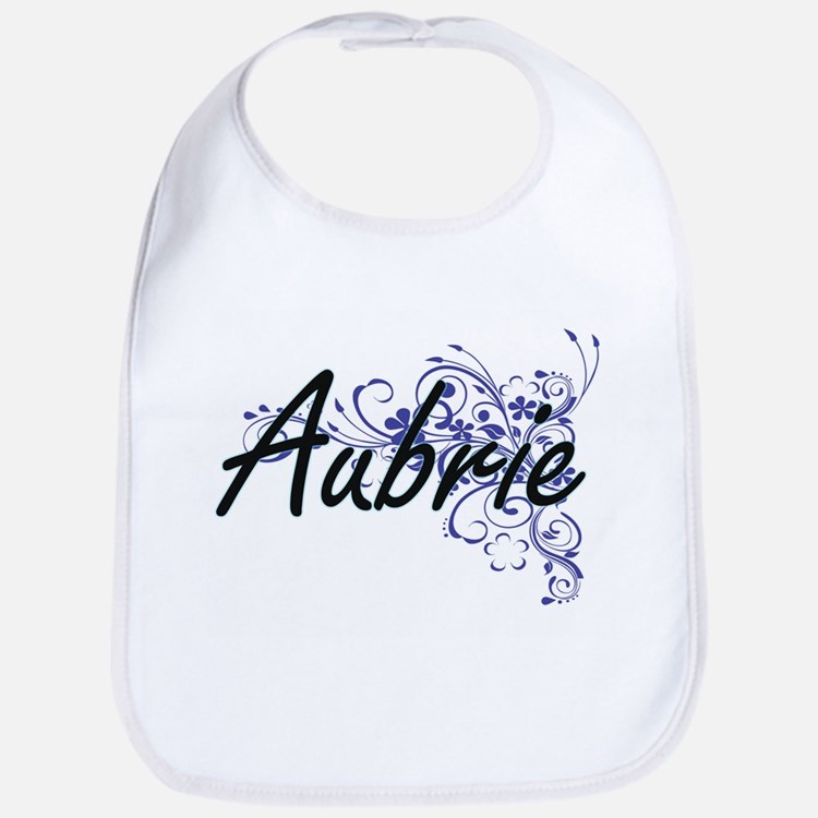 Aubrie Artistic Name Design with Flowers Bib