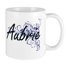 Aubrie Artistic Name Design with Flowers Mugs