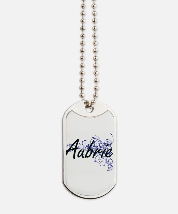 Aubrie Artistic Name Design with Flowers Dog Tags