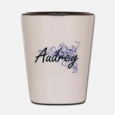Audrey Artistic Name Design with Flower Shot Glass