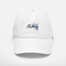 Audrey Artistic Name Design with Flowers Baseball Baseball Cap