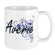 Averie Artistic Name Design with Flowers Mugs