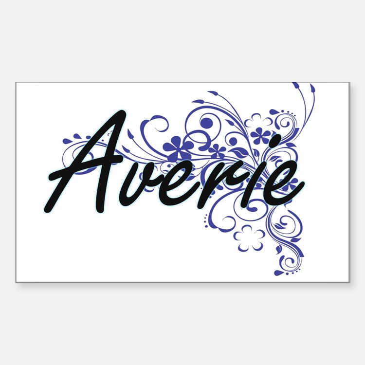Averie Artistic Name Design with Flowers Decal