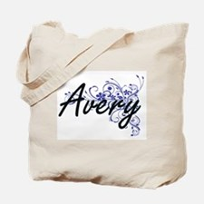 Avery Artistic Name Design with Flowers Tote Bag