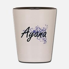 Ayana Artistic Name Design with Flowers Shot Glass