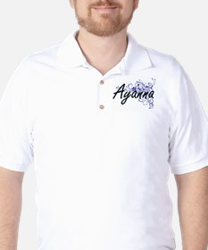 Ayanna Artistic Name Design with Flower T-Shirt