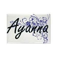 Ayanna Artistic Name Design with Flowers Magnets