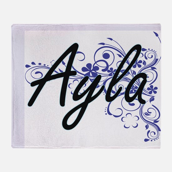 Ayla Artistic Name Design with Flowe Throw Blanket