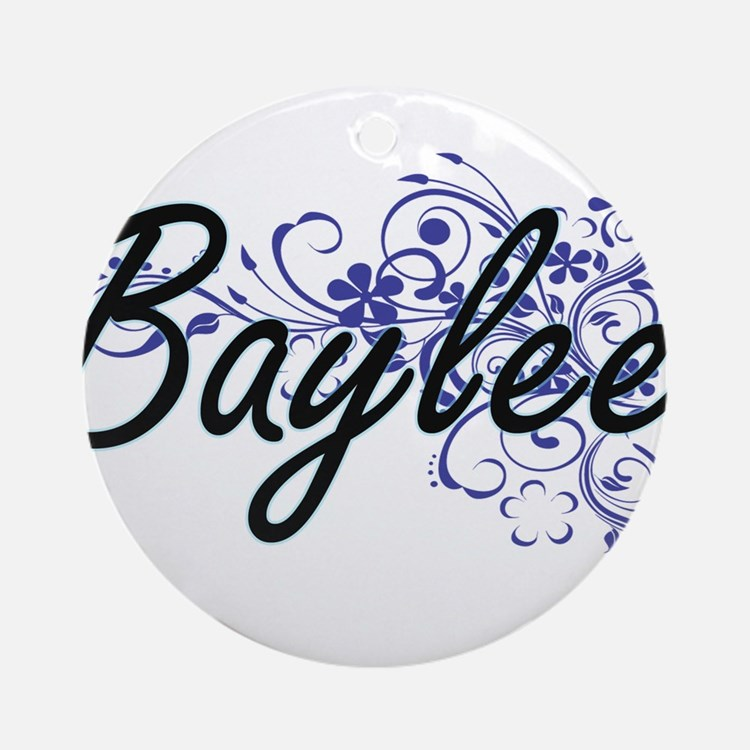 Baylee Artistic Name Design with Fl Round Ornament