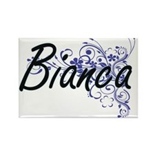 Bianca Artistic Name Design with Flowers Magnets