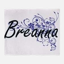 Breanna Artistic Name Design with Fl Throw Blanket