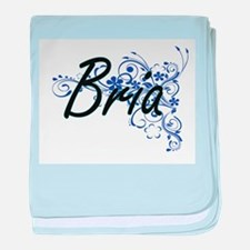 Bria Artistic Name Design with Flower baby blanket