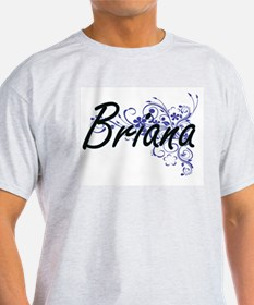 Briana Artistic Name Design with Flowers T-Shirt