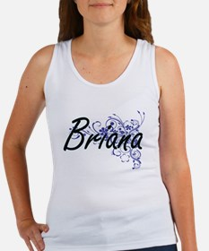 Briana Artistic Name Design with Flowers Tank Top