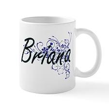 Briana Artistic Name Design with Flowers Mugs
