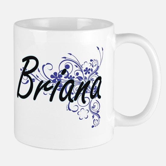 Briana Artistic Name Design with Flowers Mugs