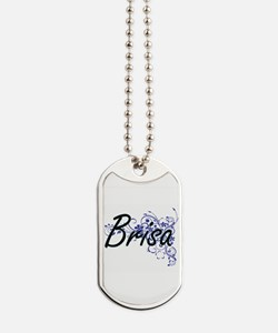 Brisa Artistic Name Design with Flowers Dog Tags