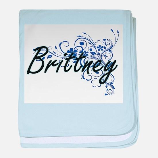 Brittney Artistic Name Design with Fl baby blanket