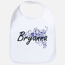 Bryanna Artistic Name Design with Flowers Bib