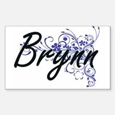 Brynn Artistic Name Design with Flowers Decal